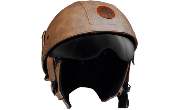 Rayvolt Leather Bike Helmet - 1/2 Face - without glasses