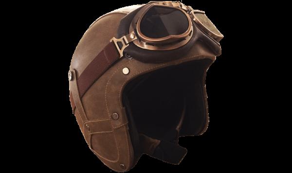 Rayvolt Leather Bike Helmet - 3/4 Face - with glasses