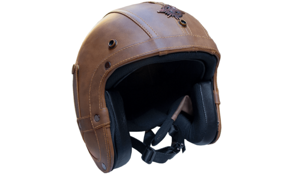 Rayvolt Leather Bike Helmet - 3/4 Face - without glasses